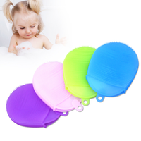 BS04 Hotsale Silicone Child Exfoliating Scrubbing Massage Mitts Body Scrub Baby Adult Bath Wash Glove