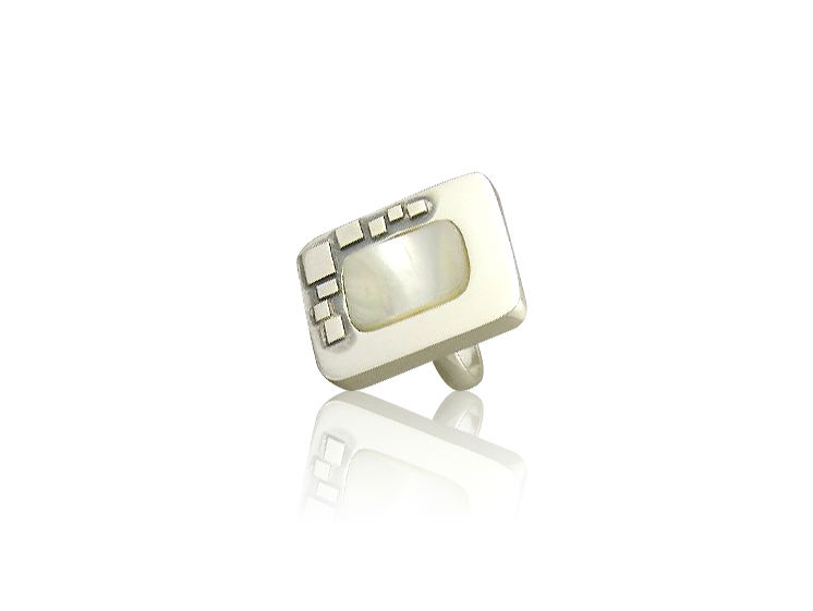 Ring with mother of pearl - handmade silver jewellery