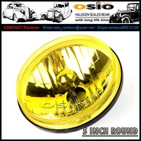5' Round YELLOW glass head light , 12V / 24V Halogen Sealed Beam , SEMI SEALED BEAM, install HID ,H4