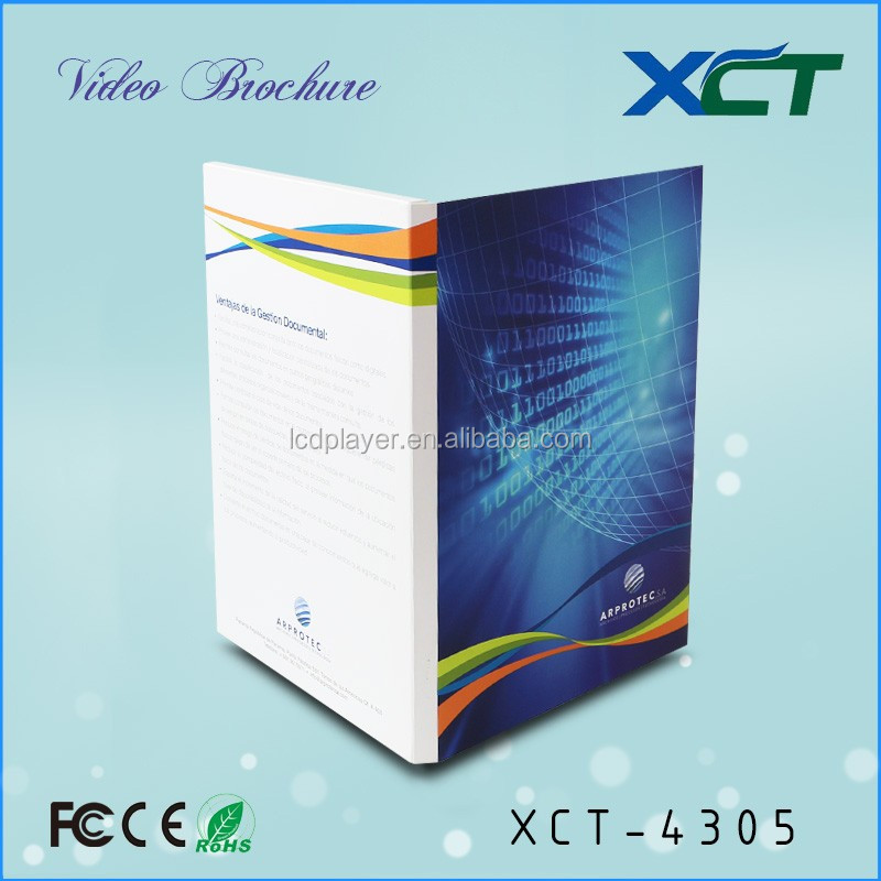 4.3 inch promotion business gift tft lcd video catalog for new products launch xct-4305