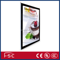 Ultra thin design Magnetic Slim Crystal LED Acrylic Light Box with aluminum frame