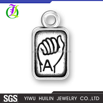 CN185777 Yiwu Huilin jewelry Dangling alphabet letter A with Hand gestures pendants charms