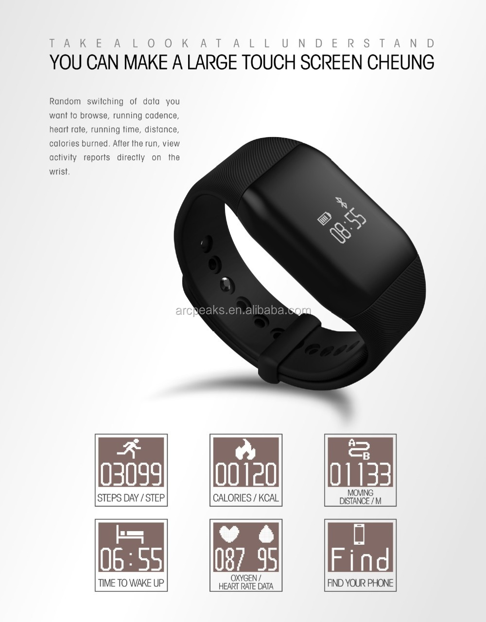Fitness tracker with blood oxygen,Sport Pedometer Heart Reate activity tracker