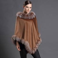 Genuine Fox Fur Cashmere Shawl/Cape/Poncho With Fox Fur Trim
