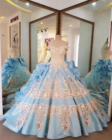 China Guangzhou Off Shoulder Satin Ball Gown Royal Blue And White Wedding Dress