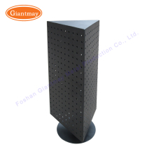 Wholesale small size triangle counter rotating metal pegboard floor display shelf stand