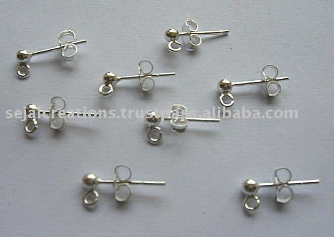 3mm Ball with Loop silver Findings, earring studs, jewellery making supplies