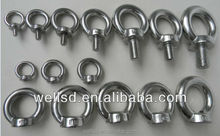 Wells factory din580 lifting stainless steel 316 hex stud eye bolt and nut