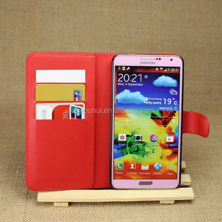 HOT SELLING Luxury Case for Samsung GALAXY Note3 N9000 PU Lichee Leather Flip Cover with Wallet