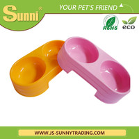Pet Plastic Dog Food Bowl Colorful Basic Bowl Feeder