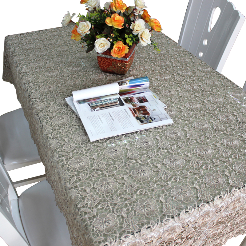 Customize good design embroidered lace tablecloth