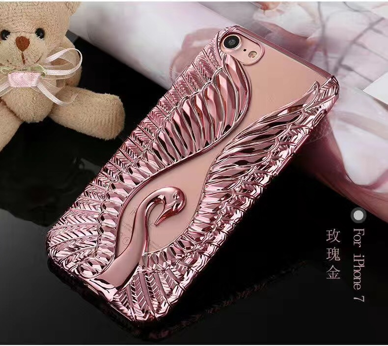 2017 New high quality fashion electroplating swan TPU gel case for iphone 7 7plus phone case