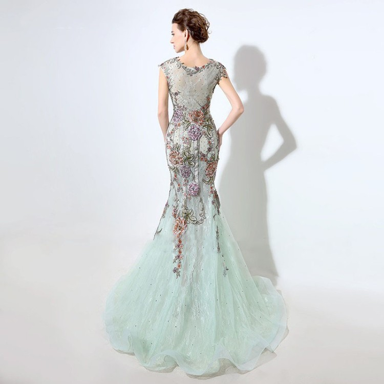 2016 Elegant flower Beaded long fish cut dress Wedding Evening Dress