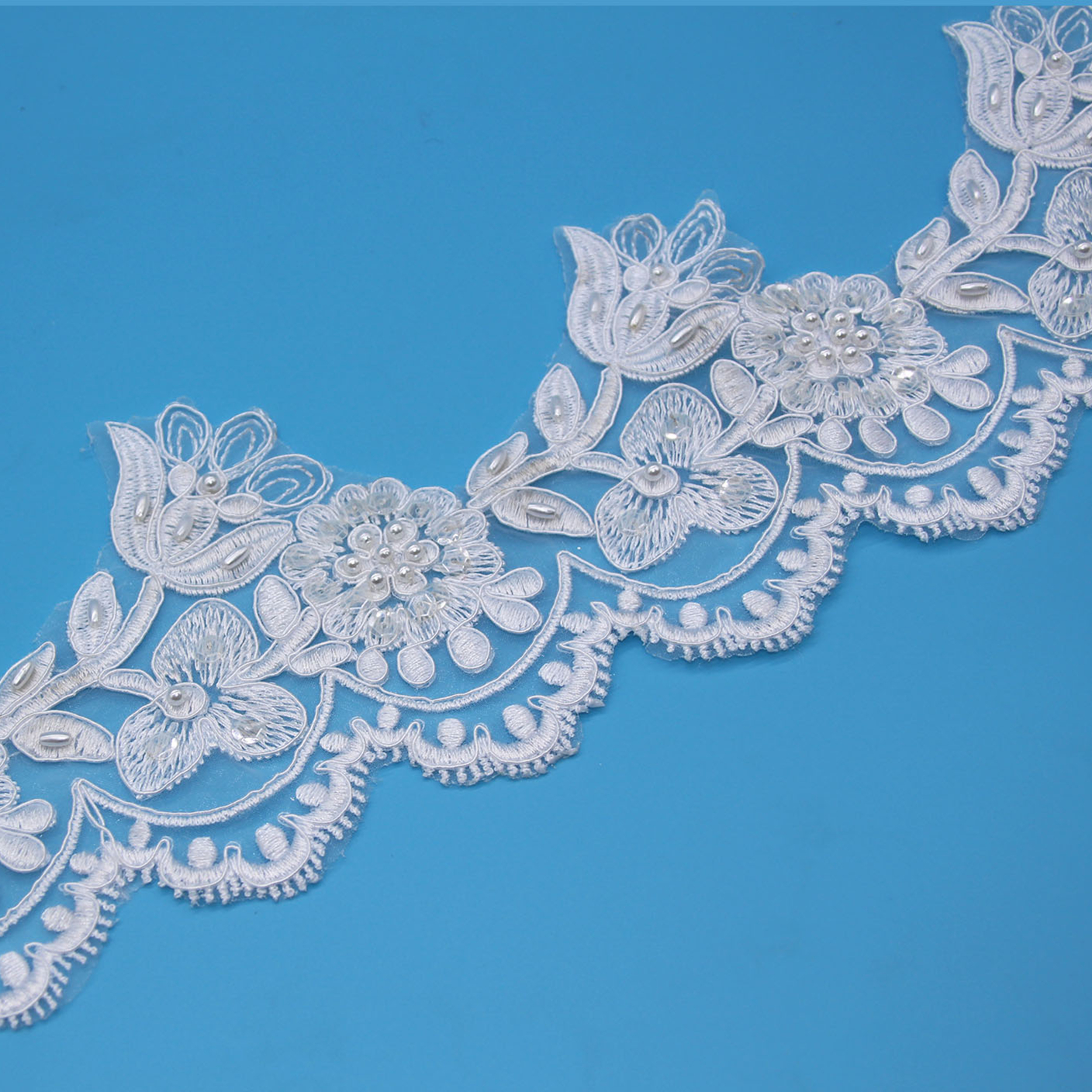 E182B Polyester Decorative Lace White Wedding Lace Trim For DIY Garment Accessories Sewing Trim Wedding Lace