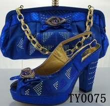 royal blue design matching sandals and bags african shoes and bags