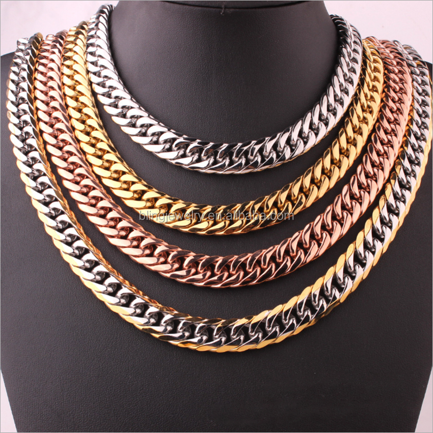 Gold 316L Stainless Steel 16mm Men's Cuban Necklace Link Chain