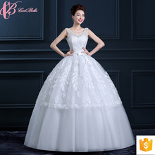 Guangzhou Factory Cheap Pure White Wedding Dresses Gowns Feather Decoration