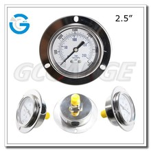 High quality 2.5 inch back connection panel mount 250 bar pressure gauge