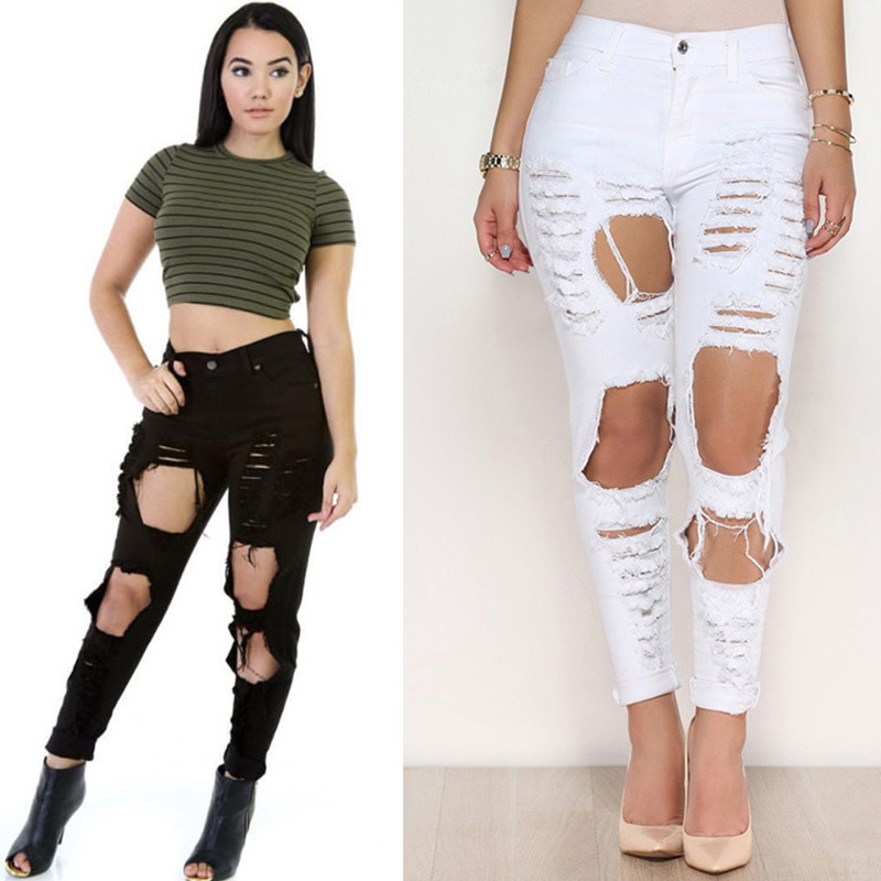 Free Size Women Skinny Stretch Ripped Crazy White Jeans Of Xxx ...