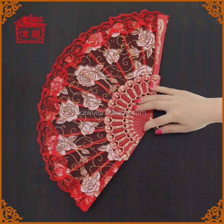 Buy plastic handle wedding decorations lace spanish fan GYS902-2