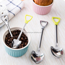Stainless Steel Spoon S M Size Shovel Shape Design Coffee Ice Cream Soup Honey Spoon Long Handle Tea Spoons for Kids