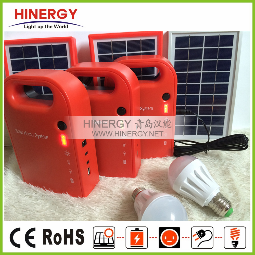 Top rated supplier bulbs portable solar package, portable 6v 3w solar lighting system