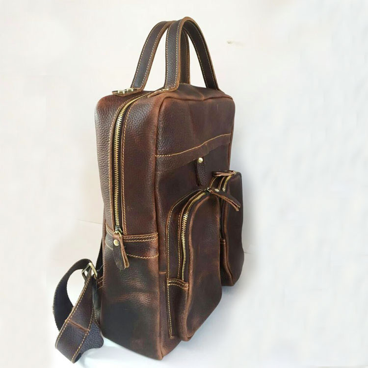 adt5130 Vintage Style Genuine Leather Backpack for Travel