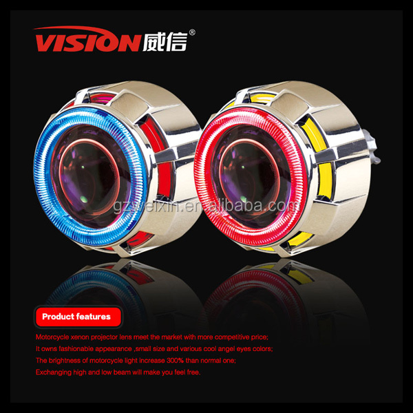 VISION Hot Sell Universal Motorcycle Projector Headlight with Angel Eyes