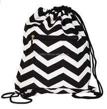2017 custom canvas chevron drawstring canvas bags wholesale diy drawstring bag