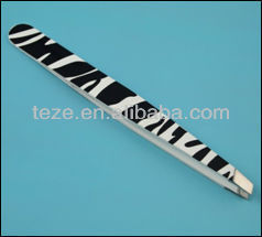 Zebra print professional use stainless steel tweezers