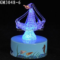 Sailing Boat Decorative Glass Blocks Crafts