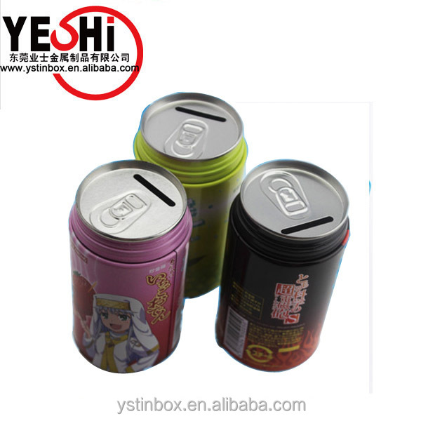 Customized factory Beverage can shape metal money tin box/coke coin tin bank