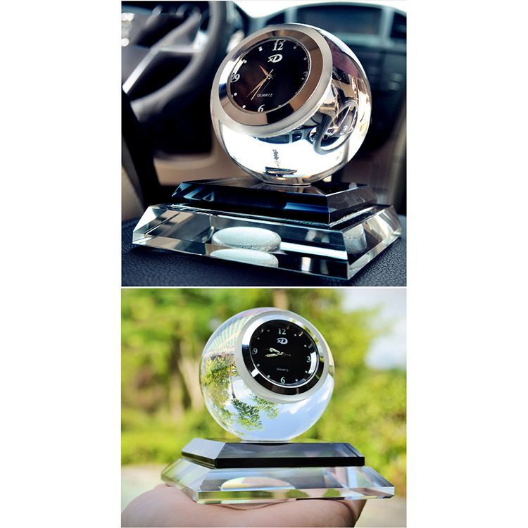 DILU Crystal Ornament,Crystal Desk Table Clock,Ball Crystal Clock and Crystal Glass Car Perfume Bottle for Decoration gifts