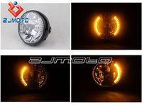 "New 7"" HALOGEN MOTORCYCLE CRYSTAL CLEAR AMBER LED HALO BLINKER TURN SIGNAL HEADLIGHT FOR YAMAHA HONDA SUZUKI KAWASAKI CB YBR EN"
