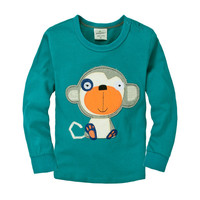 Kids Cotton Top Boys Green Monkey Printed Long Sleeve Tees Wholesale Children Casual Clothes GT81110-60