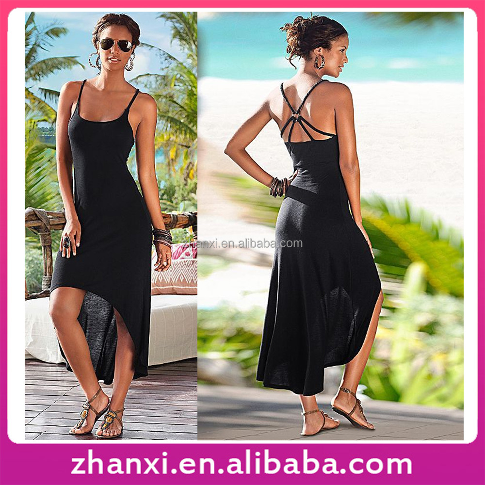 Black girls sundress plain sexy women slip casual lady new fashion simple long dress