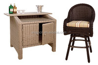 unique design bar counter for home with storage aluminum top table and low arm stool rattan set