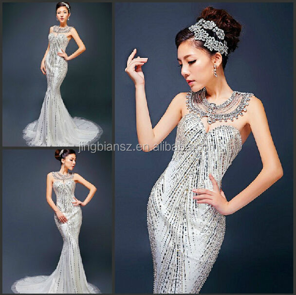 luxury heavy beaded dubai fashion design mermaid wedding gown #OW285