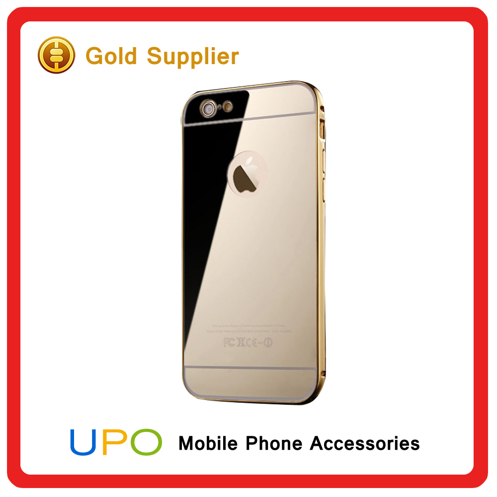 [UPO] Stylish Golden Plastic Back metal aluminium Bumper Mirror Mobile Phone Case For iPhone 6