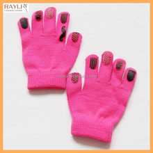 GL15162 Yiwu Nuanqi Wholesale Cute Rubber Logo Printed Kids Winter Thermal Knit Gloves Super Soft Girl's Full Finger Mittens