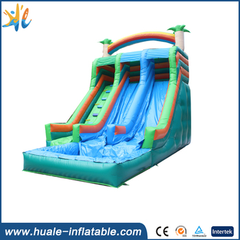 Huale new design heavy duty inflatable water slides with pool for kids and adults
