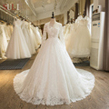 SL-104 Real Picture Custom Made Long Sleeve Lace Appliques A-Line 2017 Wedding Dress