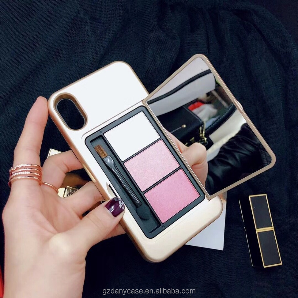 New Palette Phone case eyeshadow brush with mirror Protective Hard Back Phone Case Cover For iPhone X