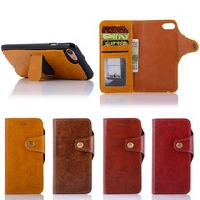 Crazy Horse Leather Case for iphone 7 8 Plus with Detachable Back Cover