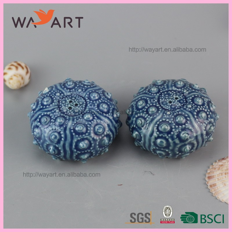 Cute Blue Ball Shaped Ceramic Cruet
