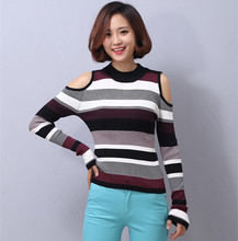 woman sexy round neck jumper top off shoulder stripes knitted sweater