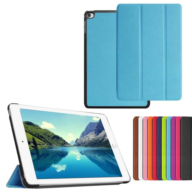 For ipad mini 4 Tri-folding Smart leather case ultra thin with back cover case