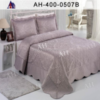 wholesale luxury satin embroidered bedspread plain design satin quilt