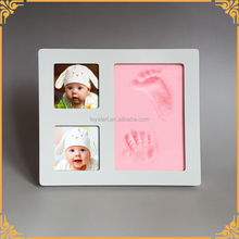 Hot Sales Cheapest Wooden Colorful Clay Baby Handprint Footprint Photo Frame Kit