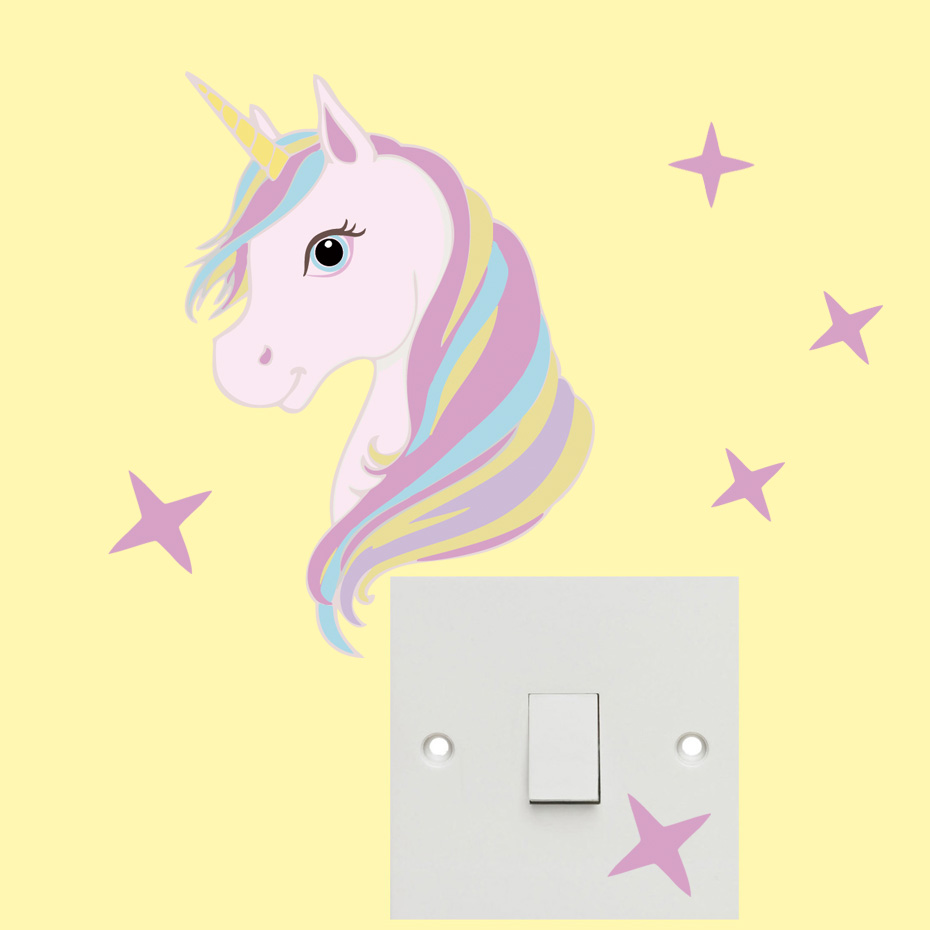Color Unicorn Star Switch Stickers Wall Art Cartoon Horse Kids Wall ...